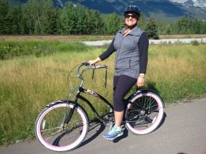 Randi on her bike in the Rockies.